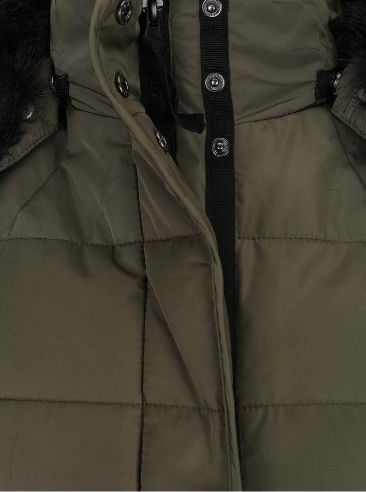 Kaki prešívaná bunda s umelým kožúškom TALLY WEiJL