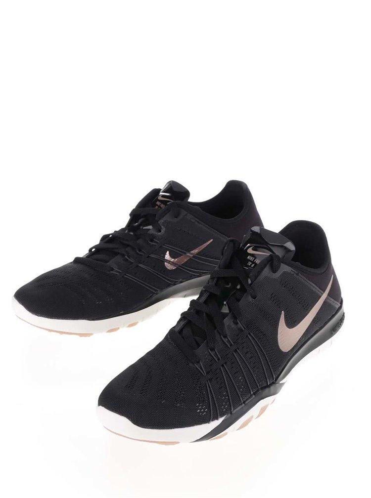 Černé dámské tenisky s detaily v růžovozlaté barvě Nike Free TR 6