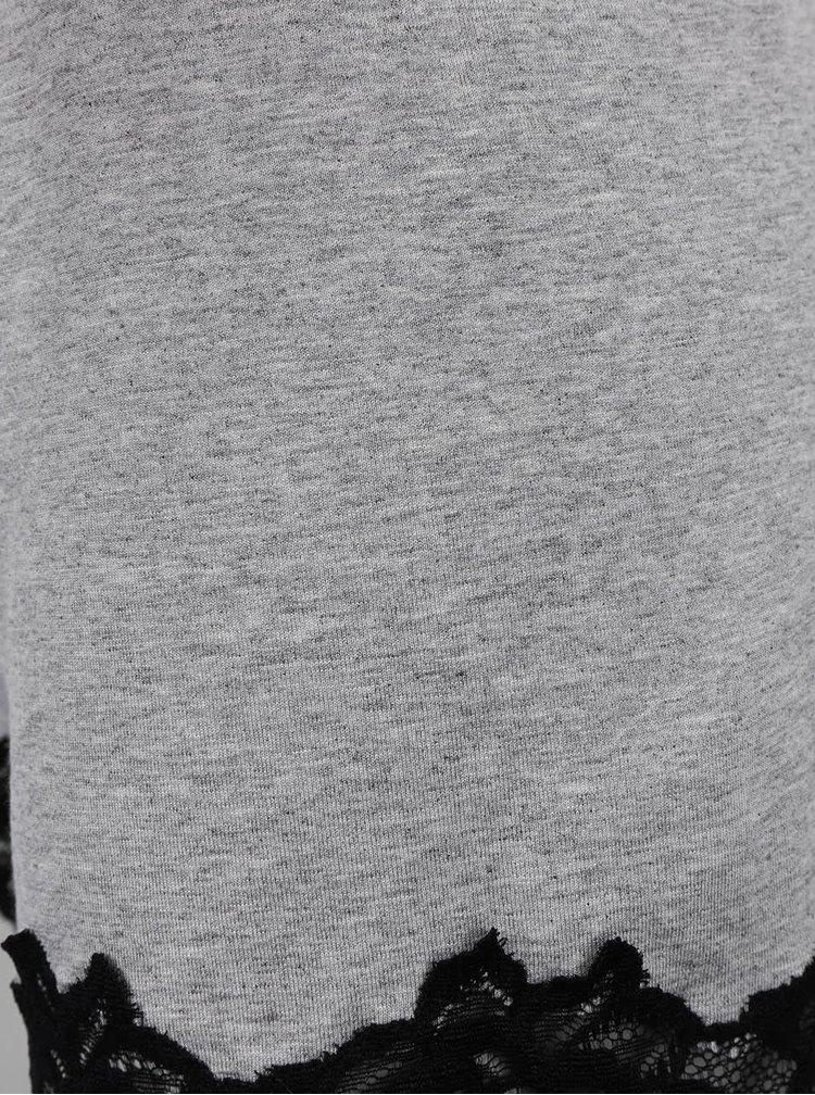 Šedé pyžamo s černou krajkou Eldar Aria