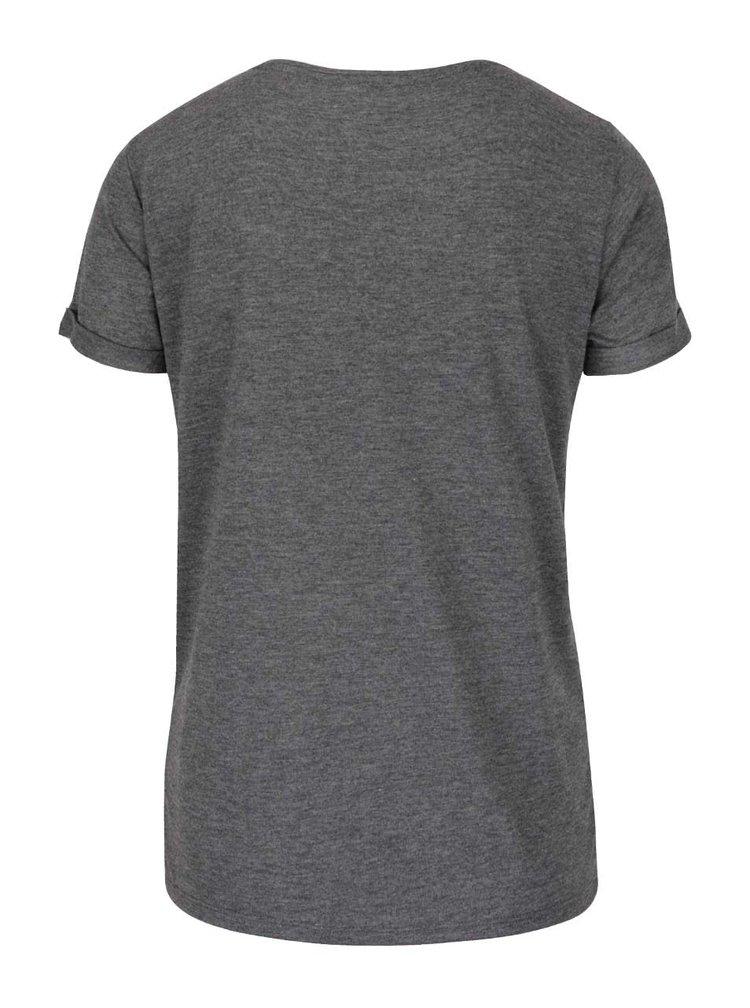 Tmavě šedé tričko s výšivkami TALLY WEiJL