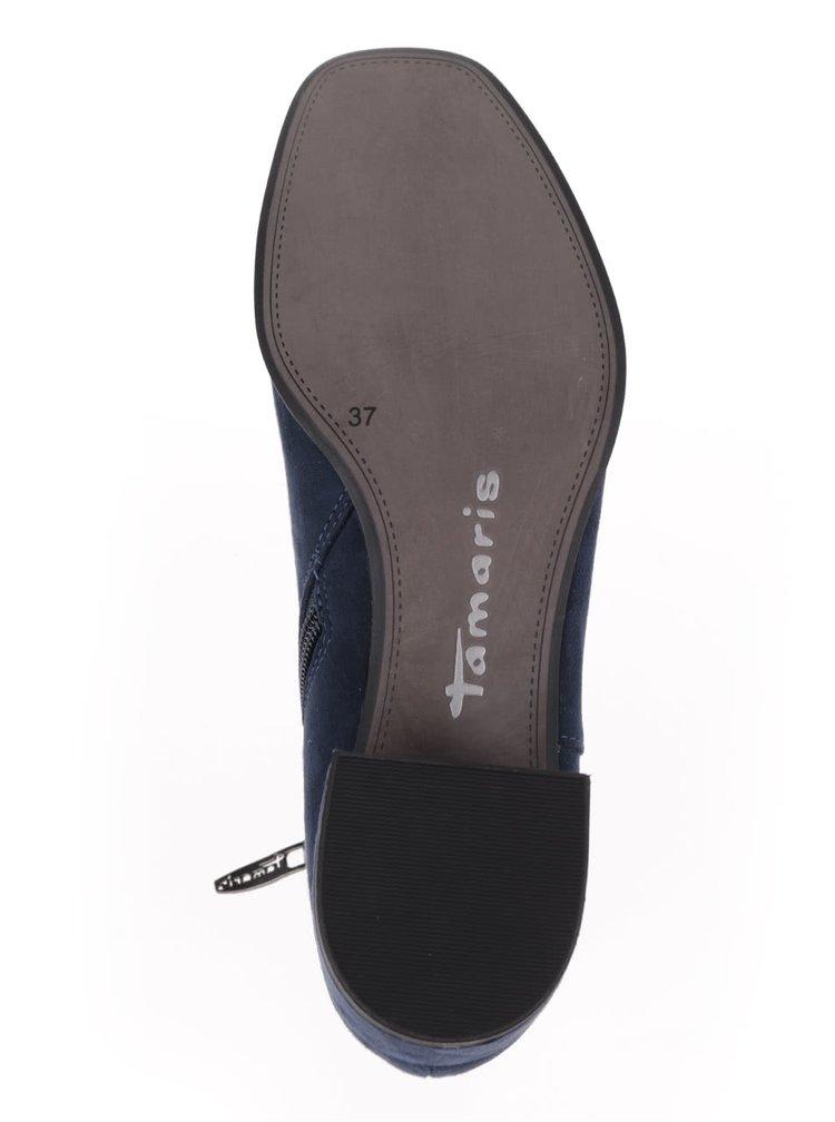 Tmavomodré členkové topánky v semišovej úprave Tamaris
