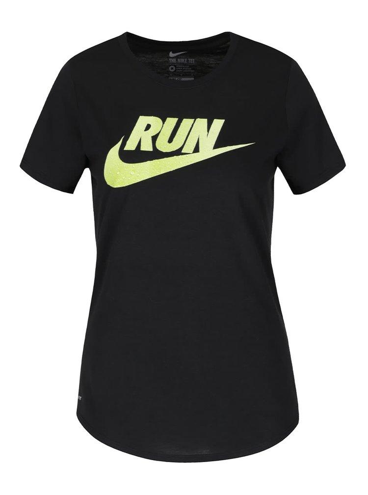 Černé dámské tričko s nápisem Nike Running