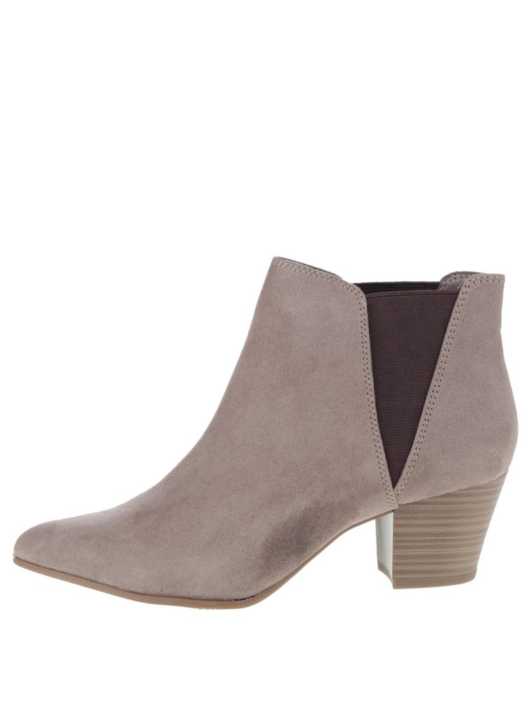 Hnědošedé kotníkové boty na podpatku v semišové úpravě Tamaris