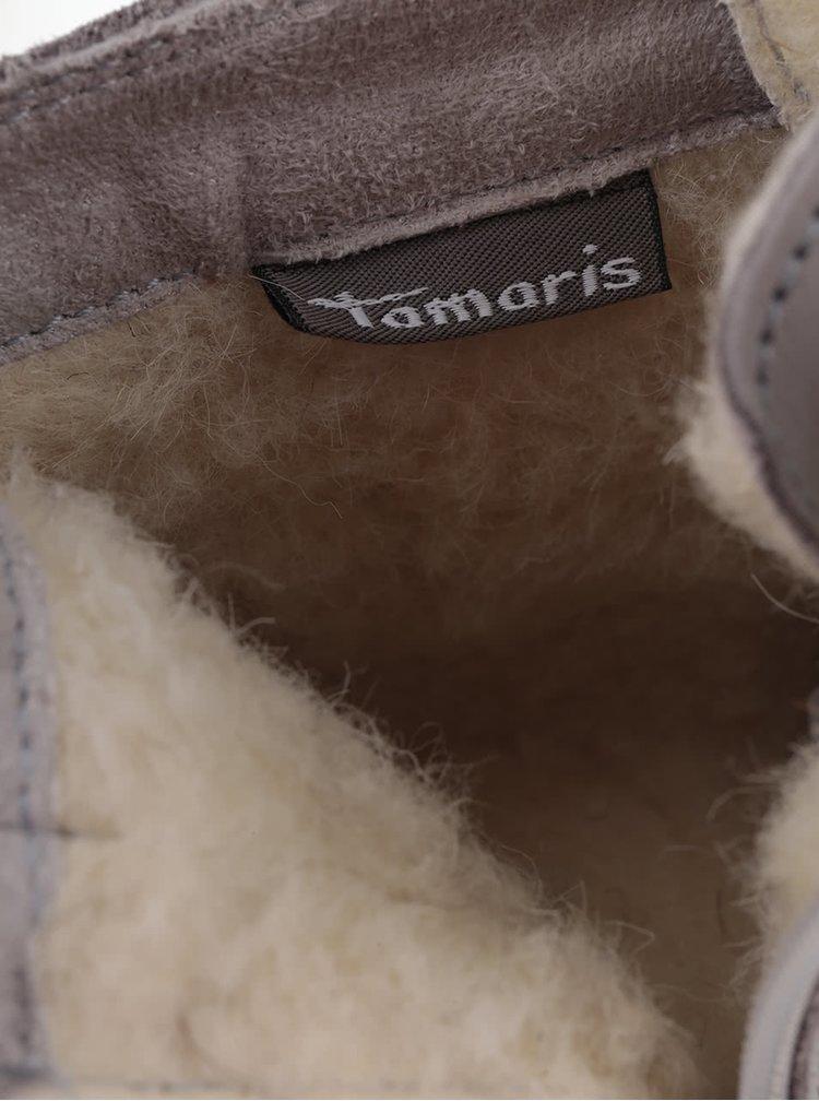 Světle šedé kožené kotníkové tenisky s umělým kožíškem Tamaris