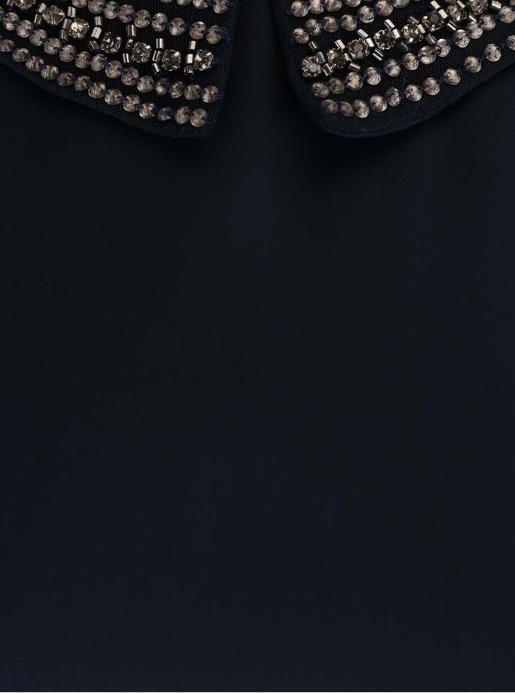 Tmavomodré šaty bez rukávov s detailmi VILA Blingers