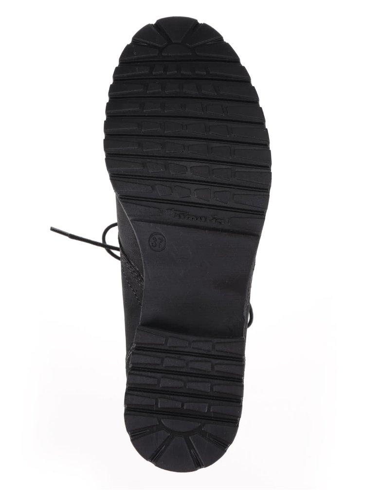 Čierne kožené členkové šnurovacie topánky s umelou kožušinou Tamaris