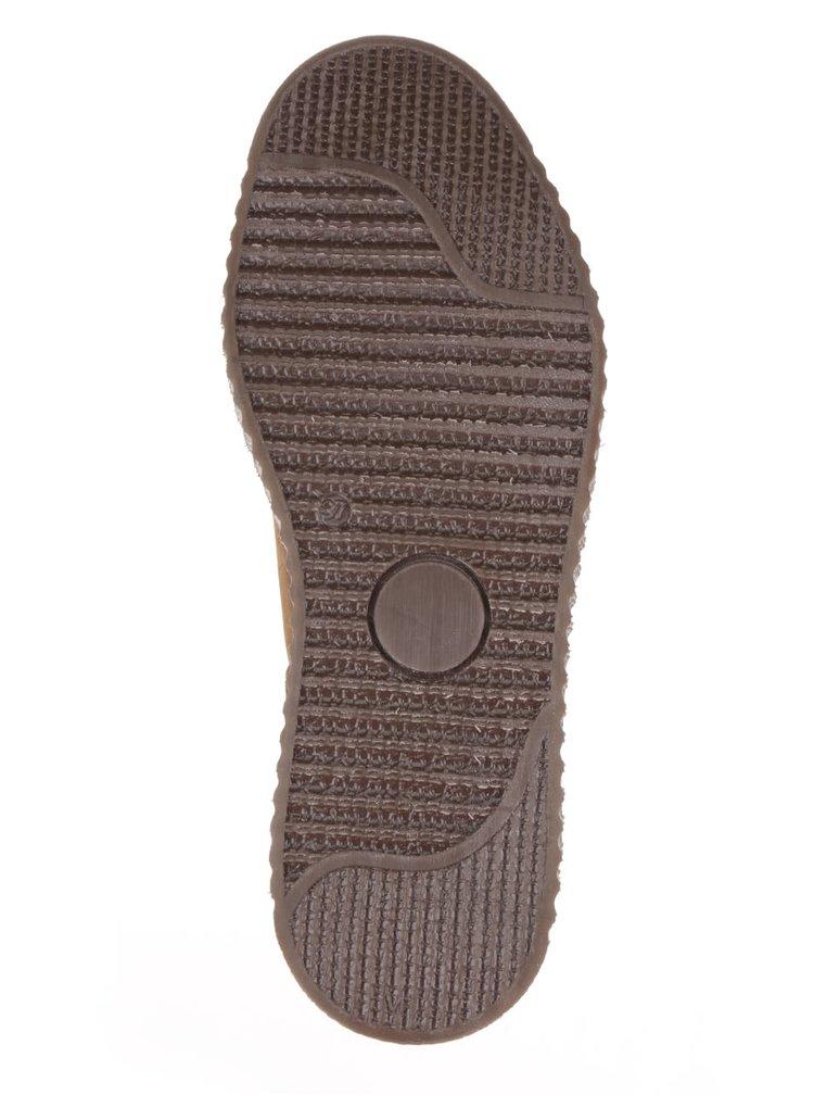 Hnědé kožené kotníkové chelsea boty na platformě Tamaris