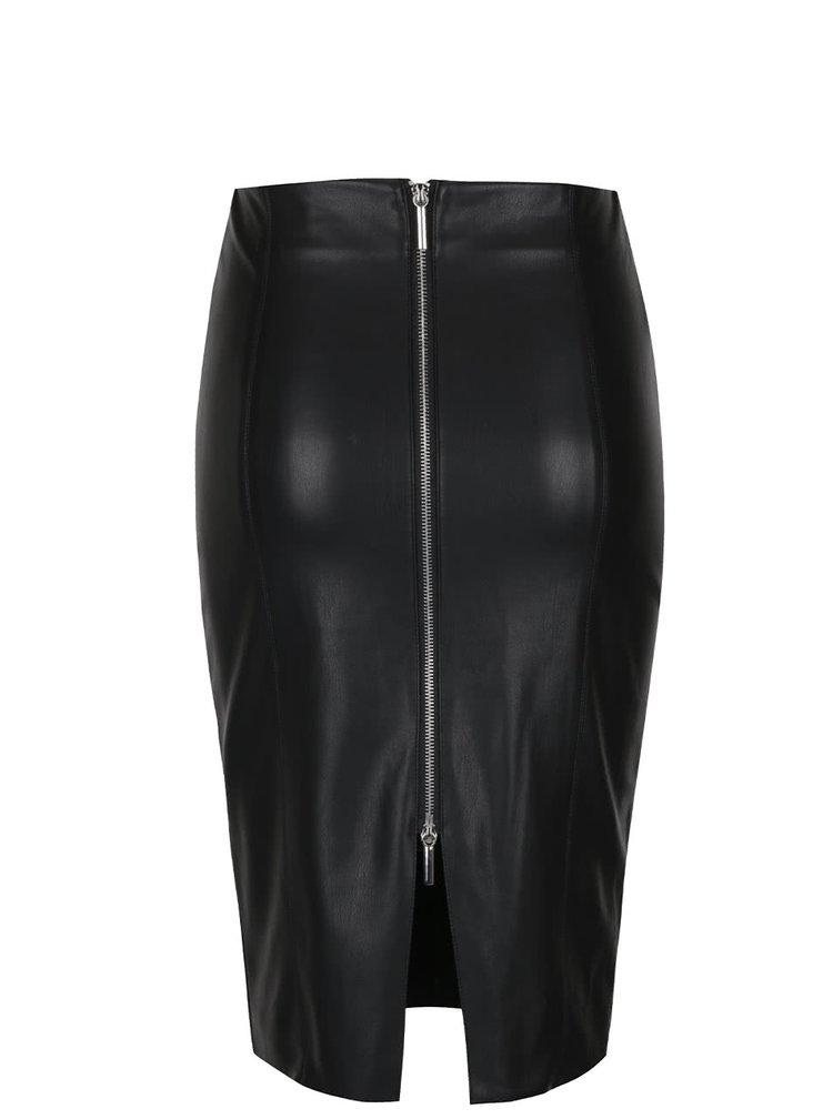 Černá koženková sukně s rozparkem Miss Selfridge
