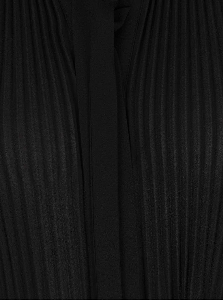 Bluza neagra Miss Selfridge cu pliuri si panglica
