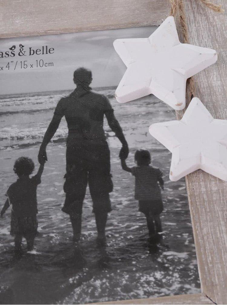 Svetlohnedý menší drevený fotorámik Sass & Belle Ashley Farmhouse Stars