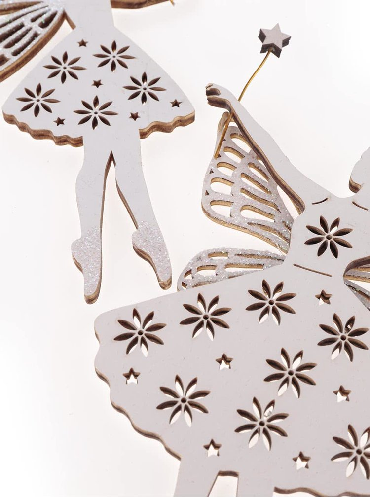 Set dvou bílých ozdob ve tvaru víly Sass & Belle