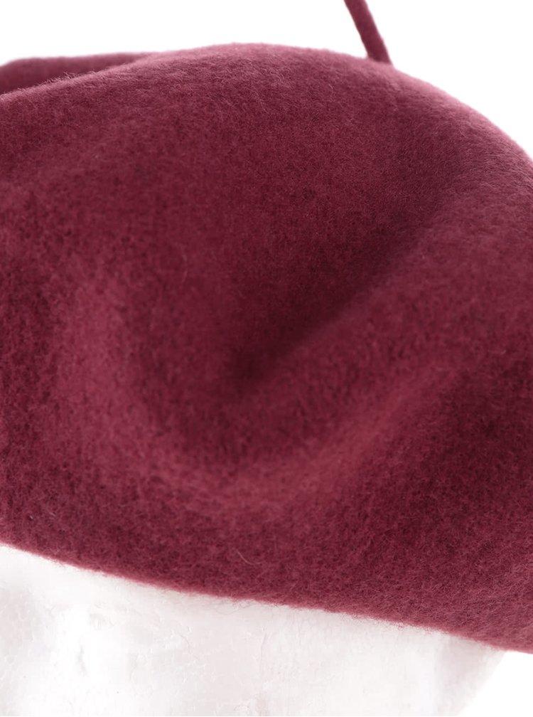 Vínový vlněný baret Pieces Sulia