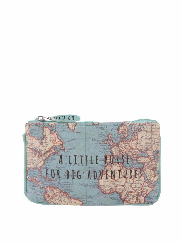 Modrá malá peňaženka s motívom mapy Sass & Belle