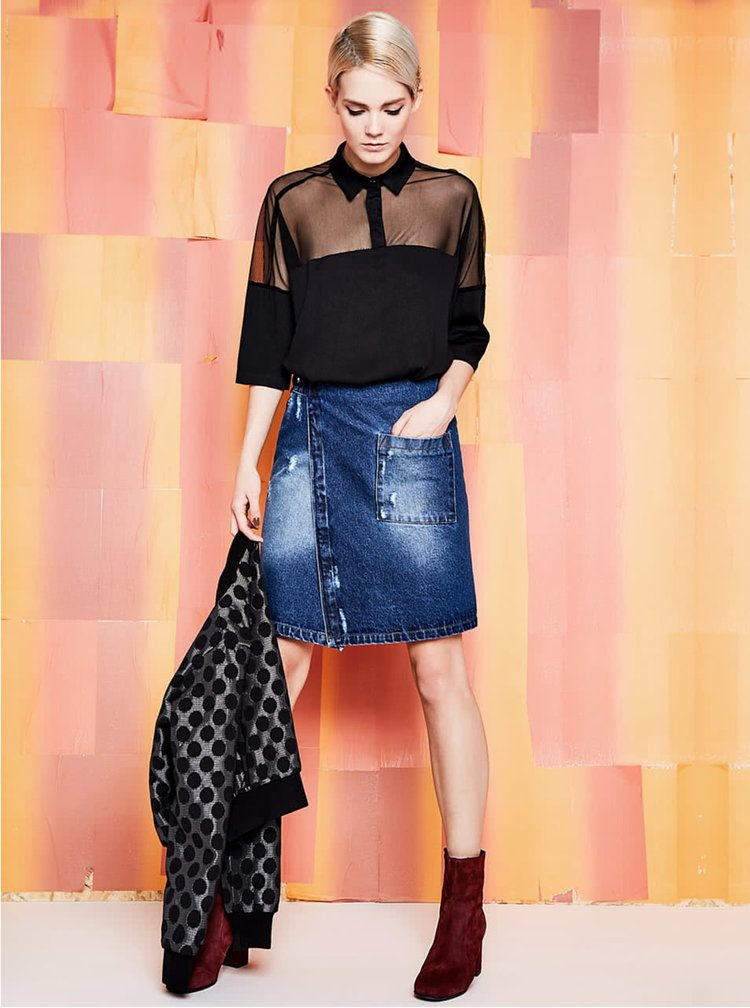Modrá džínová zavinovací sukně s kapsou Alchymi Zane