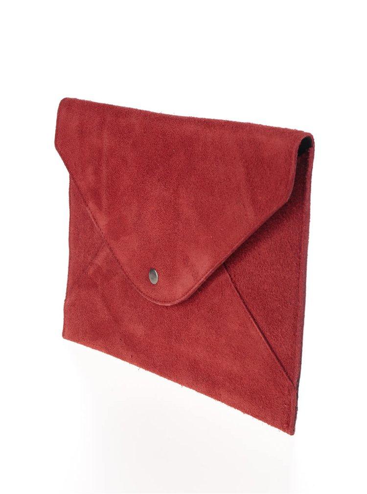 Červené semišové psaníčko Pieces Dina