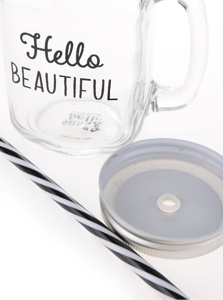 Cană din sticlă cu pai si capac - Sass & Belle Hello Beautiful