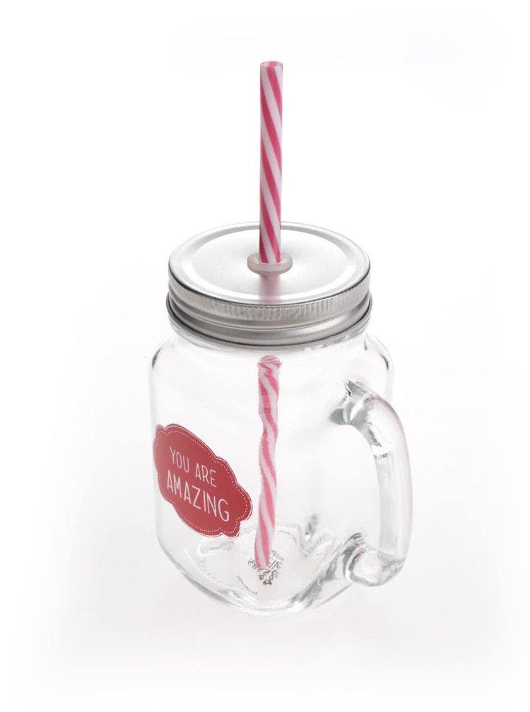 Průhledná sklenička s červeným nápisem a brčkem Sass & Belle You are amazing