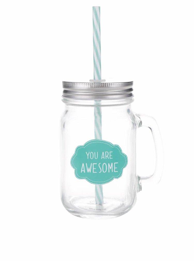 Průhledná sklenička se zeleným nápisem a brčkem Sass & Belle You are awesome