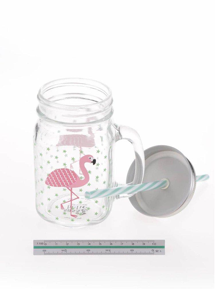 Průhledná sklenička s motivem plameňáka a brčkem Sass & Belle