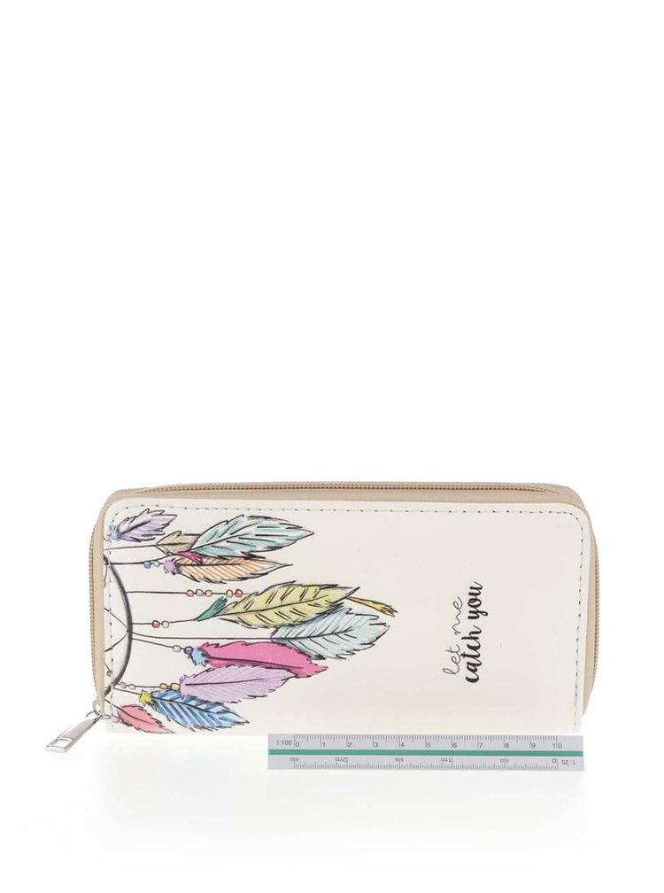 Krémová peněženka s motivem pírek Haily's