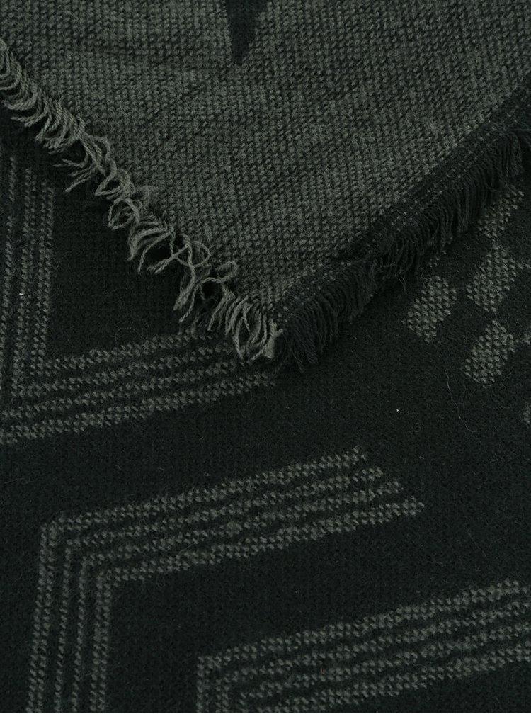 Zeleno-černá vzorovaná šála Pieces Doritta