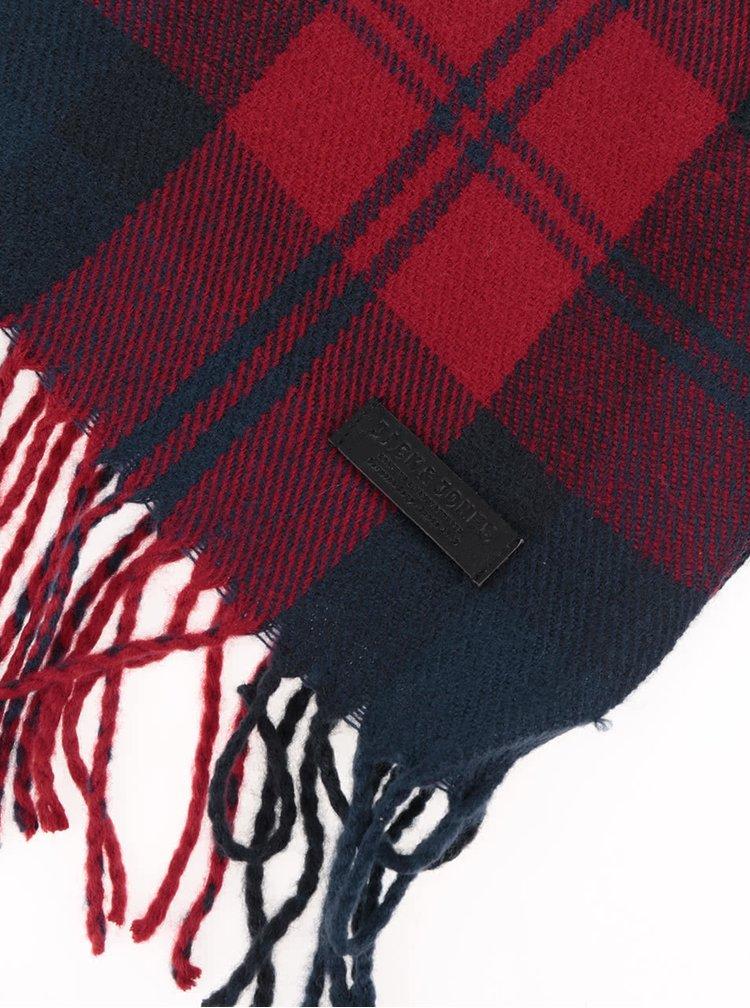 Modro-červený šál so strapcami Jack & Jones Color Check