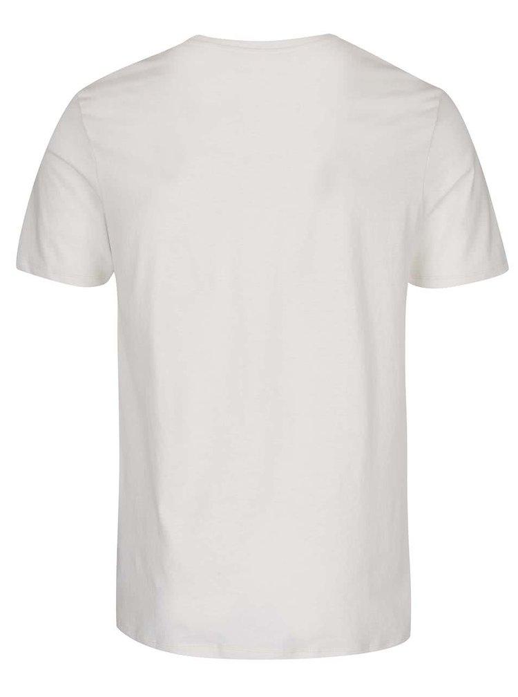 Krémové triko s potiskem Jack & Jones V37 Deroid