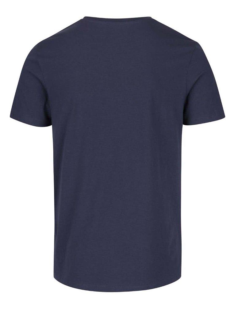 Tmavomodré tričko s potlačou Jack & Jones V37 Deroid