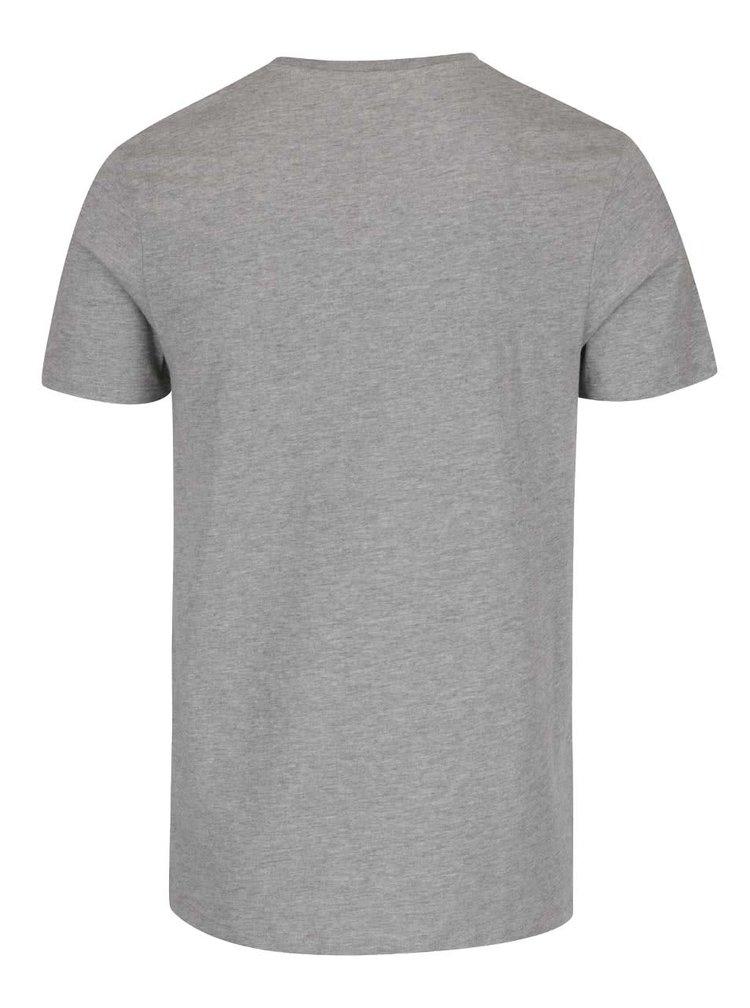 Sivé tričko s potlačou Jack & Jones V37 Deroid