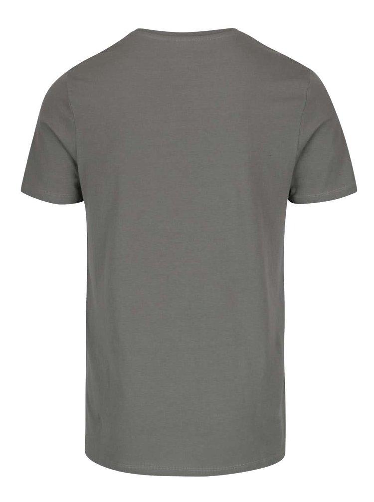 Šedozelené triko s potiskem Jack & Jones V37 Deroid