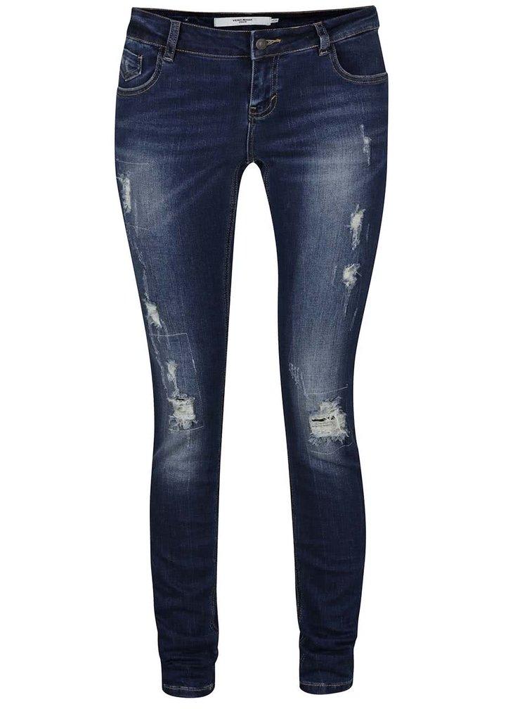 Modré džíny s potrhaným efektem VERO MODA Five