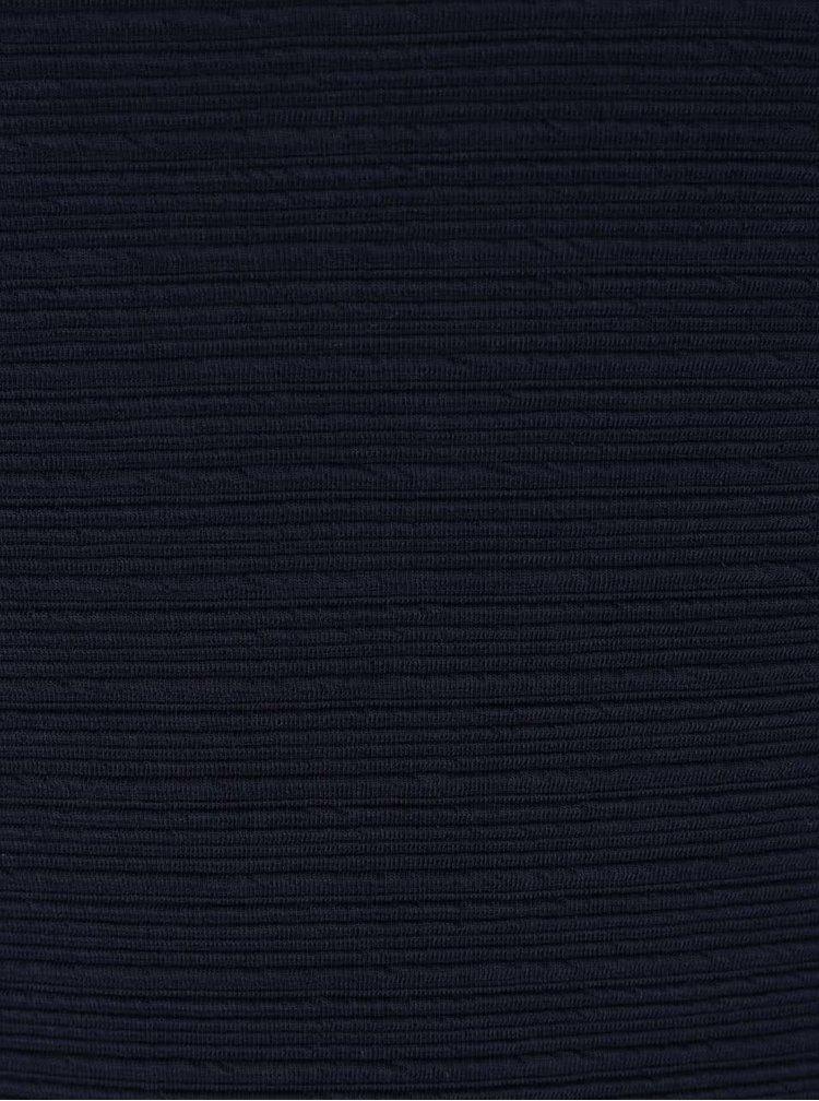 Tmavomodré šaty s jemným plastickým vzorom VILA Evelyn