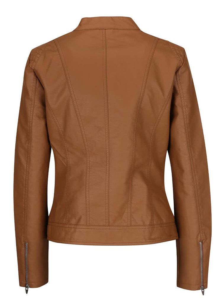 Hnedá koženková bunda VILA Aya