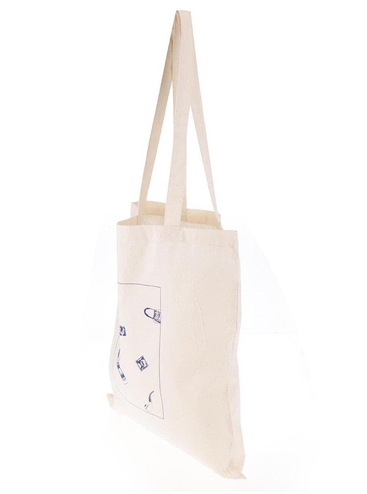Krémová plátěná taška Bez Jablka Pattern
