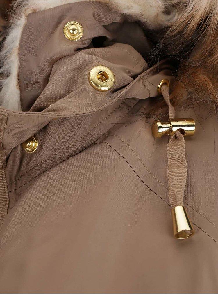 Světle hnědá parka s kapucí s kožešinovým límcem Dorothy Perkins