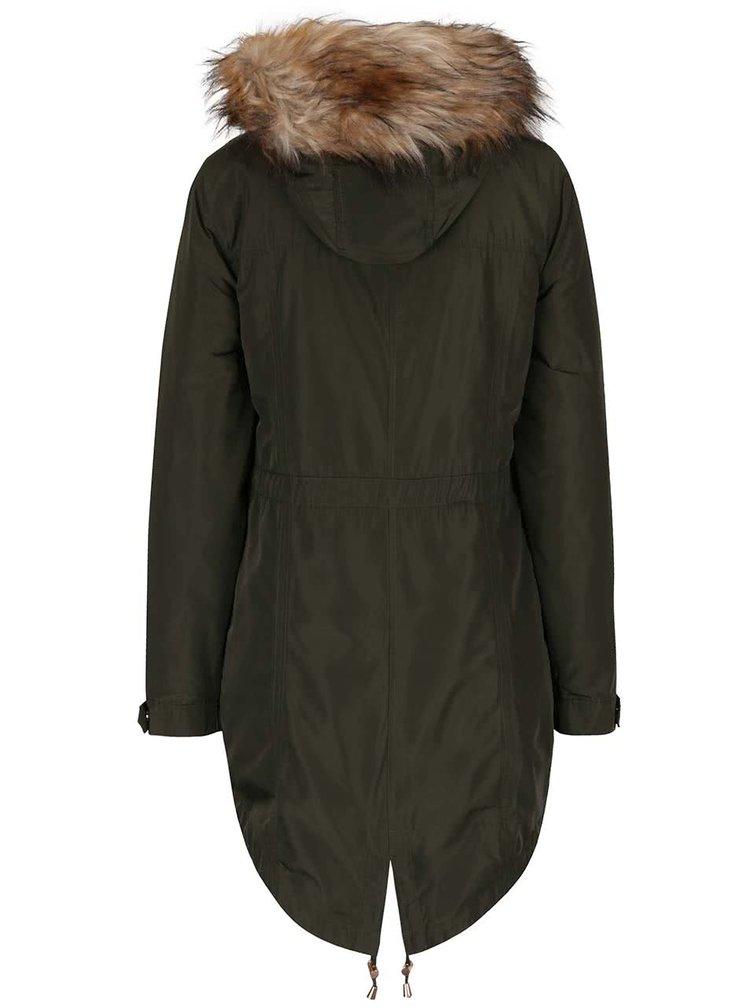 Zelená parka s kapucí s kožešinovým límcem Dorothy Perkins