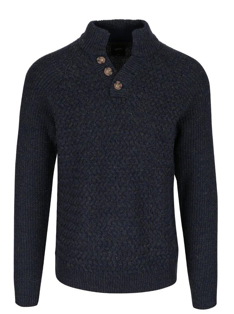 Zeleno-modrý žíhaný svetr s knoflíky Burton Menswear London