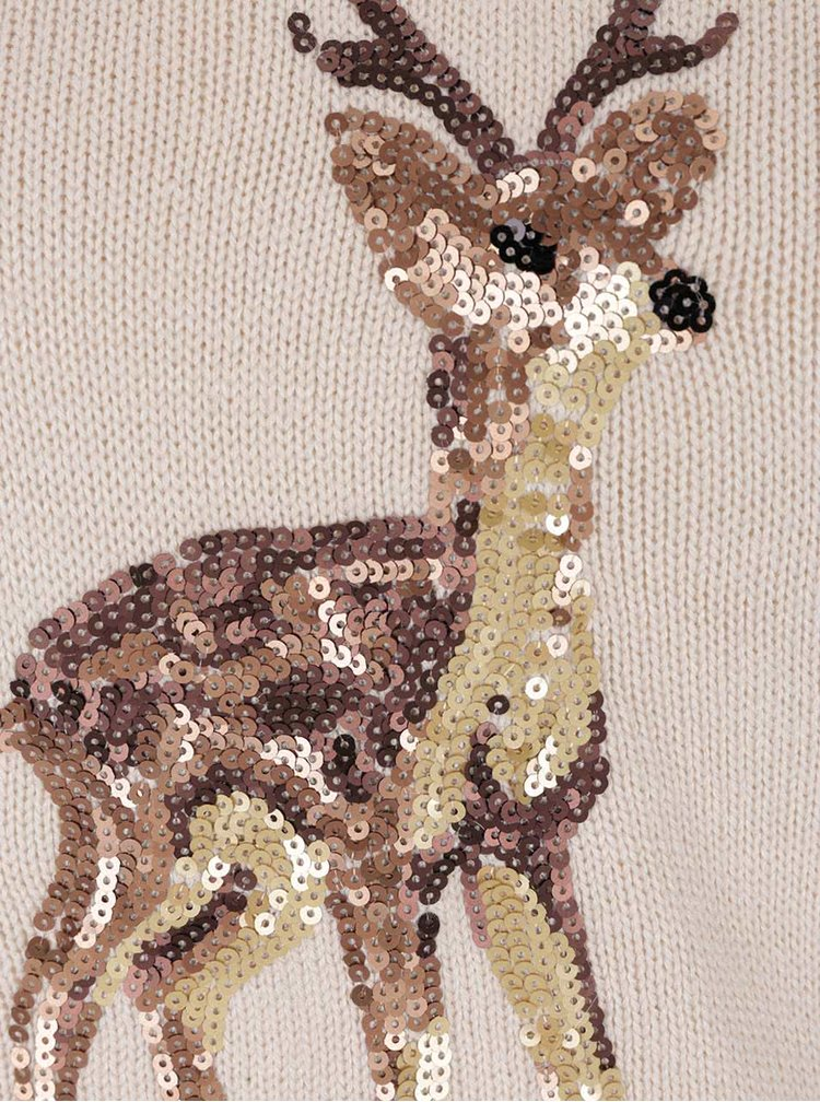 Béžový svetr s flitry a motivem soba Dorothy Perkins