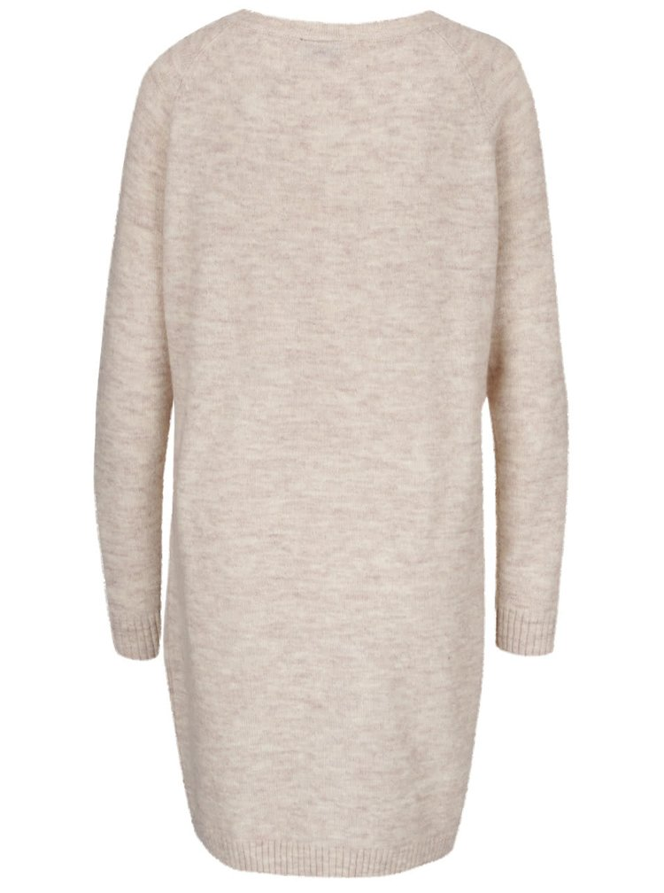 Krémovo-růžové žíhané svetrové šaty VILA Breath