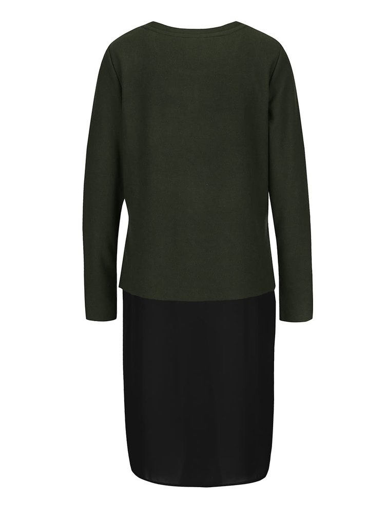 Khaki svetr s všitou dlouhou halenkou VERO MODA Isla