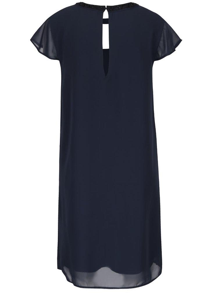 Tmavomodré šaty s výstrihom a zdobením na krku VERO MODA Lita