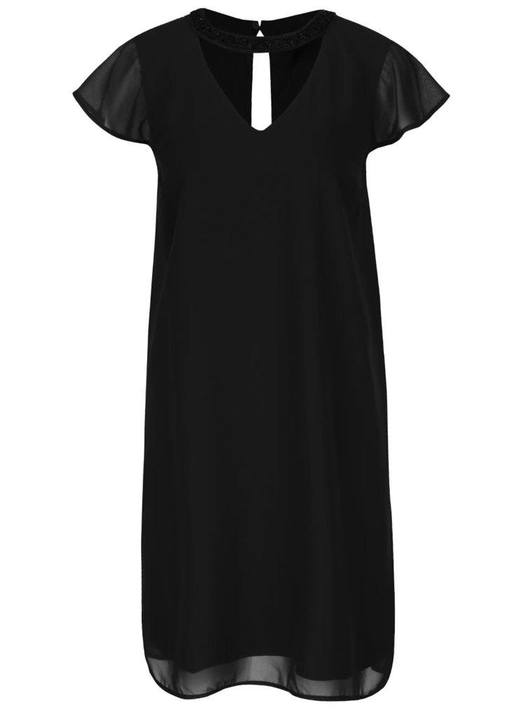 Černé šaty se zdobením na krku VERO MODA Lita