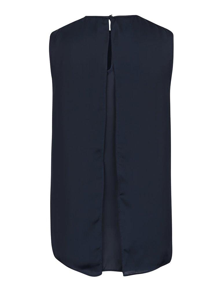 Top albastru inchis cu margele decorative VILA Blingers