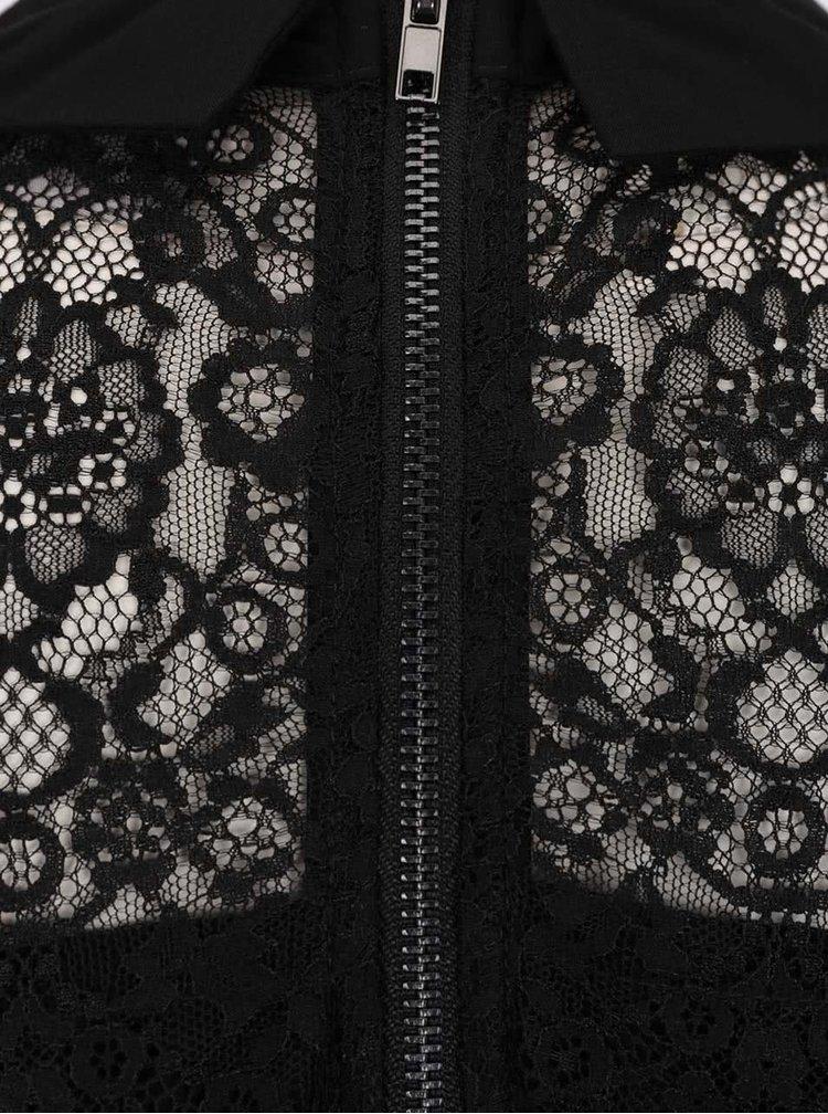 Černé šaty s krajkovým dekoltem a vázankou VERO MODA Marie