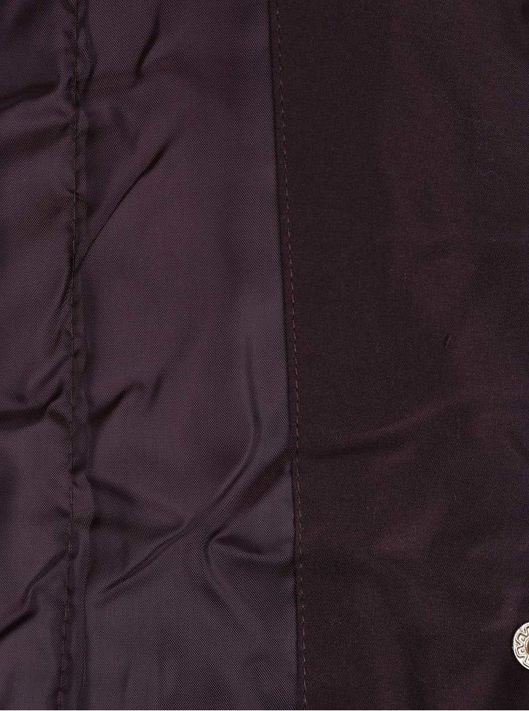 Fialová parka s kapucí z umělé kožešiny Dorothy Perkins