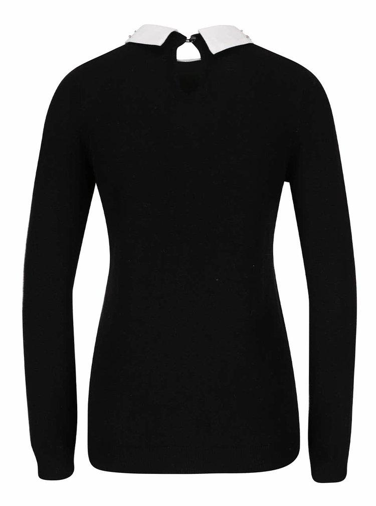Černý svetr s límečkem s kamínky Dorothy Perkins