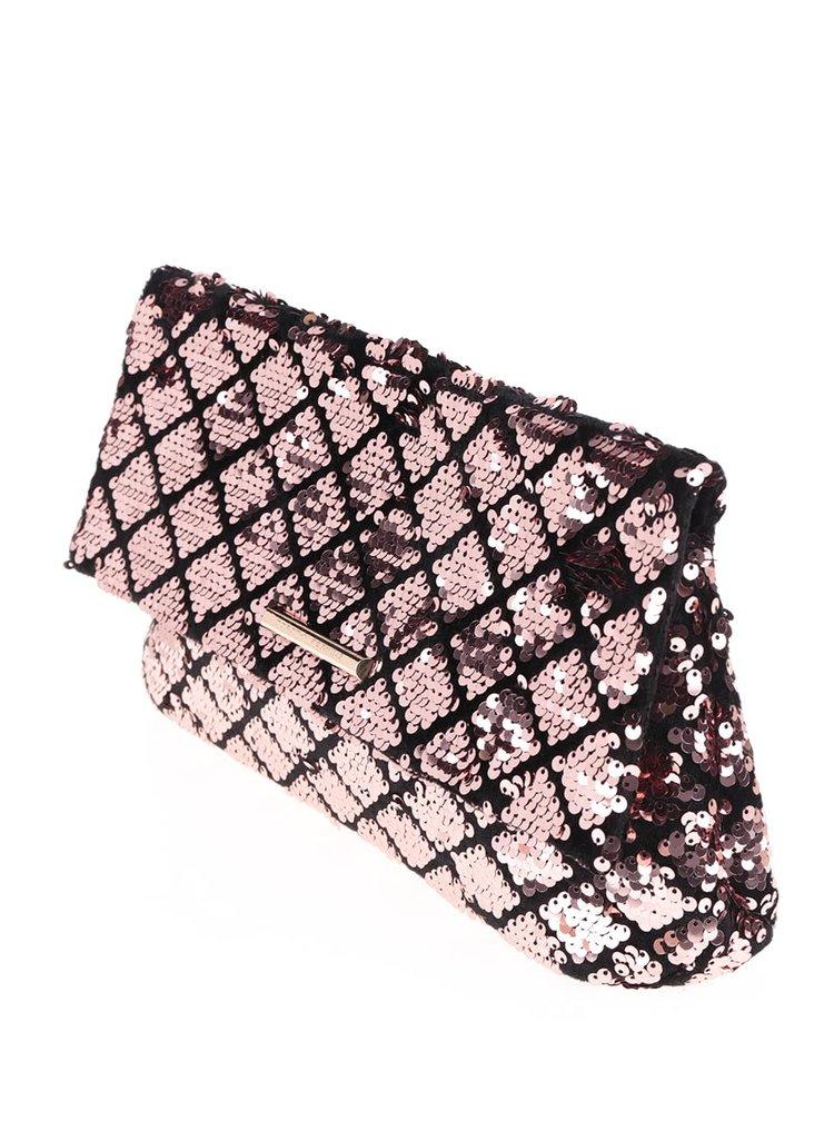 Geantă plic roz cu negru Dorothy Perkins cu paiete