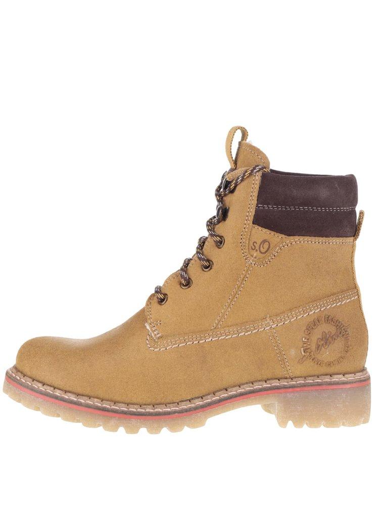 Světle hnědé dámské kožené kotníkové boty s.Oliver