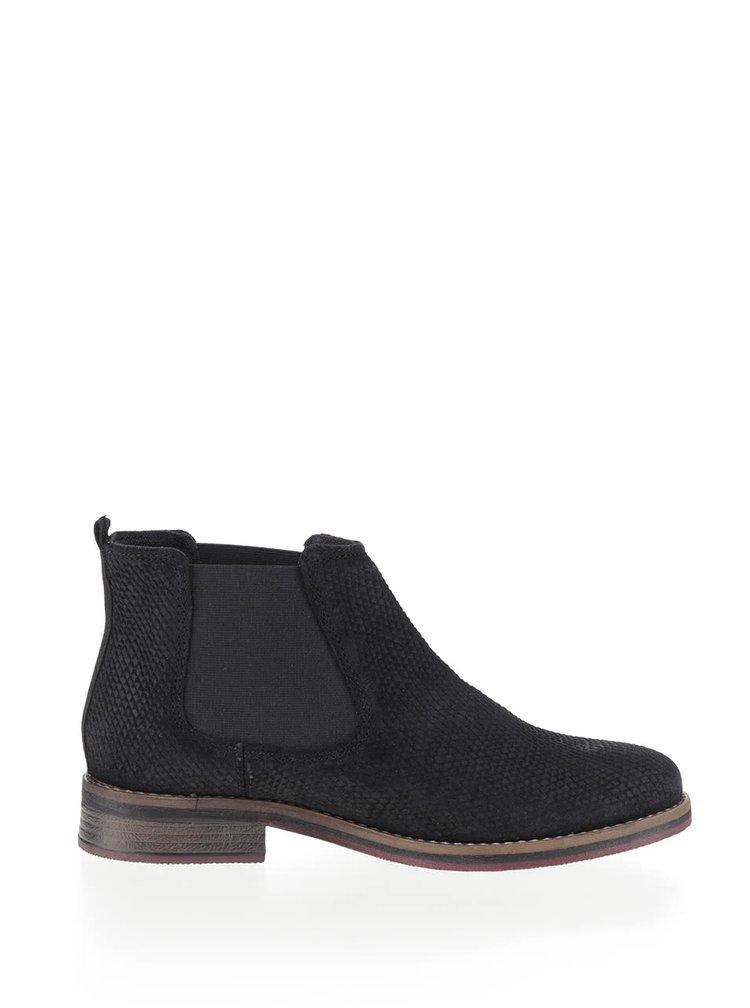 Čierne dámske kožené chelsea topánky s.Oliver