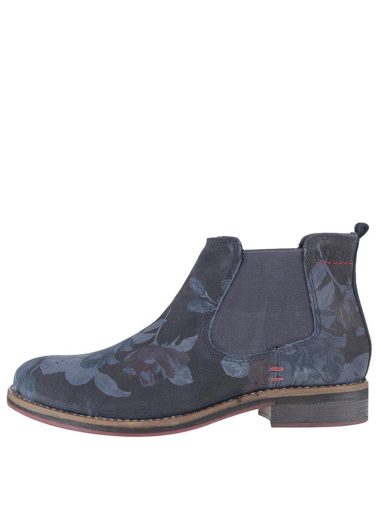 Modré dámské kožené chelsea boty se vzorem s.Oliver